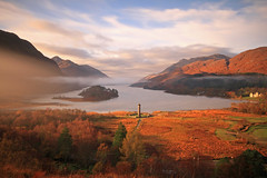 Loch Sheil. ( Loch Seile ) (Gordie Broon.) Tags: morning november mist mountains monument nature misty landscape geotagged island photography scotland scenery alba scenic escocia lochshiel glenfinnan fortwilliam schottland ardgour ecosse mallaig invernessshire jacobite scottishhighlands moidart westernhighlands bonnieprincecharlie nd110filter canoneos7d gordiebroon