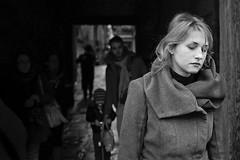 (paolomezzera) Tags: street venice portrait woman girl dark sad candid gray naturallight tunnel triste lonely canonef35mmf2 venezia ghetto sola ragazza tristezza ebrei ebraico sottopassaggio