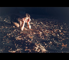 annie in autumn. (Alli Jiang) Tags: autumn portrait girl beautiful leaves pose photography leaf dance model dancing posing grace autumnleaves shorthair crawling fallenleaves yellowleaves 2011 annielee allijiang wsyt520