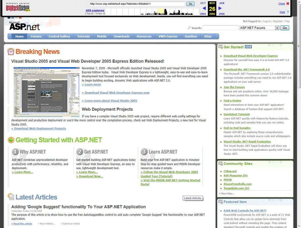 ASP.NET site - 2005