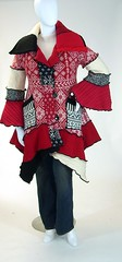 Red, Black and White Norwegian Pattern Sweater Coat, Petunia Style, Size Medium ( 10-12) (brendaabdullah) Tags: oneofakind wearableart etsy ecofriendly diyfashion sweatercoat knitcoat repurposedsweaters upcycledsweaters brendaabdullah norwegiansweaterknit redandblacksweatercoat womenssweatercoat