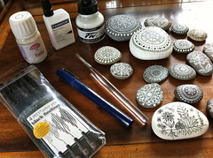 Tools for Pebble Painting and Drawing (MagaMerlina) Tags: art ink stones mandala pebbles tools workspace etsy supplies artsupplies mandalas fabercastell arttools paintedrocks paintedstones pebblepainting paintedpebbles sketchingtools pebbledrawing