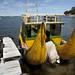 Barca fatta con le canne totora nel porto di Copacabana