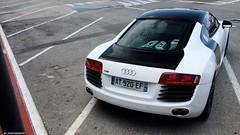Audi R8 V8 (J.B Photography) Tags: auto summer white black france car race photography power harbour cannes exotic jb audi luxury supercar v8 sportscar r8 carspotting 2011 performence hypercar worldcars