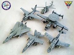 Aircraft of Carrier Air Wing 8  (1) (Mad physicist) Tags: lego aircraft military models usnavy ussenterprise