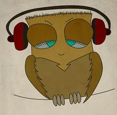 coruja (fffdesign) Tags: bird animal phone head musica owl coruja draw fone desenho own passaro listen ouvido