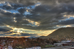 Two Star Sunrise [Explored!] - Roanoke VA Photography Terry Aldhizer (Terry Aldhizer) Tags: two sky usa sun mountains mill clouds sunrise landscape star virginia day cloudy roanoke terry rays hdr partly regionwide aldhizer terryaldhizercom