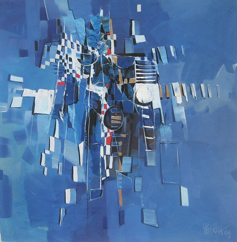 Abstract in blue - Painting - Abstract