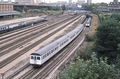 Near Westbourne Park Station , London . Sunday 20th-September-1981 . (AndrewHA's) Tags: electric train diesel stock railway line multiple emu paddington londonunderground metropolitan unit londontransport hst gwr dmu highspeedtrain greatwestern class43 c69 multipleunit class117