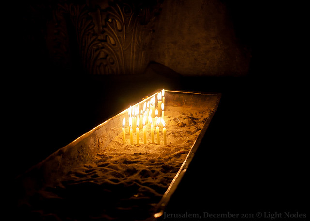 Candles near the Altar of the Crucifixion