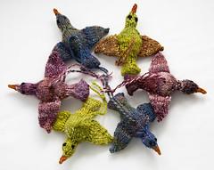 Handspun Birds (chavala) Tags: xmas holiday birds knitting ornaments spinning handspun mydesign myhandspun knitbest