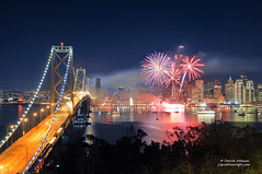 San Francisco New Years Fireworks - Happy New Year 2012 (Darvin Atkeson) Tags: sanfrancisco city longexposure bridge skyline night cityscape treasureisland suspension fireworks 4th july newyear lynn explore goldengate