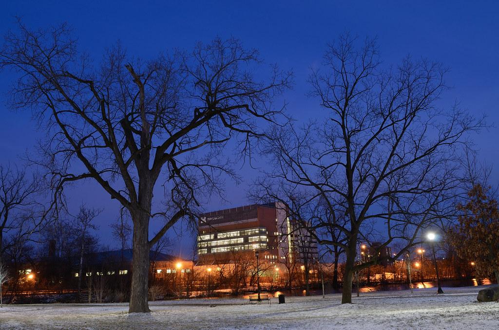 Kellogg Eye Center at dusk