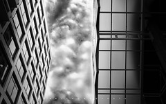 W I N D O W S & S K Y (rabbithoang) Tags: blue windows sky blackandwhite cloud white black detail reflection building window glass architecture glasses glossy architect reflect gloss build shape bnw