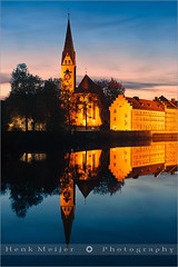 St. Mang - Kempten - Bavaria - Germany (~ Floydian ~ ) Tags: city longexposure light sunset color colour reflection tower church water colors abbey canon reflections river germany landscape bavaria lights reflecting town colours view postcard religion monastery postcards bluehour benedictine viewpoint meijer henk sankt cityview mang allgau gothicstyle stmang kempten floydian proframe proframephotography canoneos1dsmarkiii henkmeijer