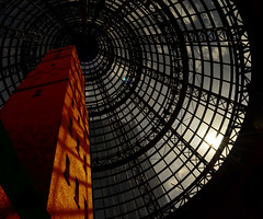 Coop's Shot Tower (phunnyfotos) Tags: roof light sunset sun sunlight nikon cone australia melbourne shoppingcentre victoria lookingup shoppingmall vic 1890 conical melbournecentral shottower glazedroof coopsshottower waltercoop nikond5100 phunnyfotos