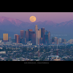 Los Angeles, California (terenceleezy) Tags: city sunset moon mountain la losangeles nikon downtown i5 tripod fullmoon helicopter telephoto freeway downtownla i405 dtla downtownlosangeles 70200mmf28g d700