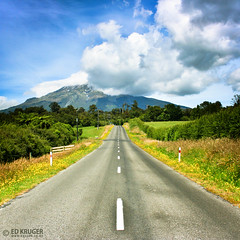 Egmont National Park, New Zealand (Ed Kruger) Tags: road morning blue newzealand sky plants sun storm flower tree green grass sunshine yellow clouds forest landscape grey volcano daylight early nationalpark bush sunny mount nz vegetation northisland volcanoes kiwi volcanic aotearoa allrightsreserved taranaki egmont admiralty skyphoto mounttaranaki egmontnationalpark newzealandphoto edkruger photoofnewzealand photosofthesky