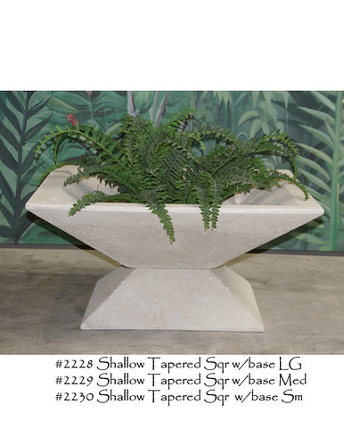 Large Planters, Shallow tapered Square Planter with base - Alfresco Decor