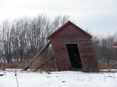 propped (David Sebben) Tags: winter red rural illinois small shed leaning propped