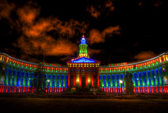 Denver City & County Building (Thad Roan - Bridgepix) Tags: county christmas city holiday building architecture night lights colorado denver stockshow 201201