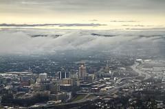Downtown Roanoke (konrad_photography) Tags: blue sky mountain mountains tower mill clouds star virginia downtown ridge roanoke va parkway hdr 581