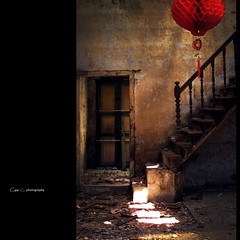 Mystery of the red lantern (Chez C.- busy again) Tags: street wood light red urban texture abandoned stairs decay olympus lantern exploration epl2