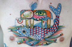 tatoo dream (.  F L F  .) Tags: sea walter sky sun fish elephant bird eye art love clouds paper graffiti design boat surrealism wing dream monk totem peixe cover olho hook tatoo sonho elefante collors monge surrealismo barquinho nant anzol franciscofreitas