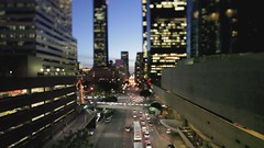 Downtown LA (Eric 5D Mark III) Tags: california road city usa building car canon landscape photography miniature losangeles timelapse video twilight downtown cityscape unitedstates perspective wideangle skybridge vehicle footage tiltshift ericlo eos5dmarkii tse17mmf4l
