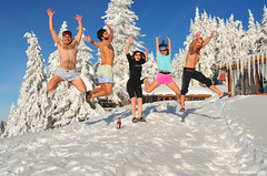 jump for joy (.:: Maya ::.) Tags: winter girls vacation people mountain snow cold tree boys smiling naked fun happy frozen jump jumping group young hut bulgaria  dobrila  mayaeye mayakarkalicheva