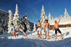 happy young people (.:: Maya ::.) Tags: winter girls vacation people mountain snow ski cold boys smiling naked fun happy group young running hut bulgaria  dobrila  mayaeye mayakarkalicheva