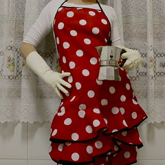 coffee? (sonyacita) Tags: red white square apron gloves lacecurtains bsquare utatafeature polksdots stovetopespressomaker headlessselfportrait utata:project=ip144 firstthingithinkofwheniwakeup