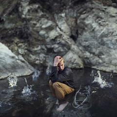 Water and war. (David Talley) Tags: lighting light cliff cold water rain shirt forest river bokeh drop drip splash dripping stripedshirt mtbaldy splashing dopiest 365project davidtalley