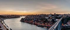 Oporto (Perurena) Tags: city sunset portugal rio river puente atardecer ciudad ponte panoramica douro oporto brigde solpor rioduero