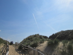 Blue Skies (Mr-NHW) Tags: blue sky point sand contrail aircraft dunes merseyside formby sefton