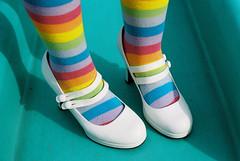 zapatos de mi esposa [1] (Mariafels * Jeff E) Tags: blue white color film socks analog 35mm canon 50mm gold rainbow shoes bright kodak f14 denver 200 getty heels a1 straps fd