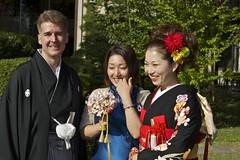 Yay Satomi! (Mongwau) Tags: family wedding friends japan japanese hotel groom bride joel ceremony marriage reception notbyme naomi hakama  kimono yamanashi  kofu  tokiwa