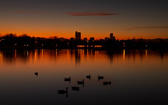Nightfall, Denver (mclcbooks) Tags: sunset lake reflections landscape evening colorado cityscape denver citypark