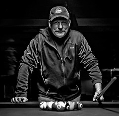 game face (TheWalkinMan) Tags: portrait bw game pool blackwhite aaron billiards 15ball nikonsunglassesscoredatthethriftstore