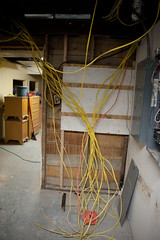 Spaghetti in the basement (EyePulp) Tags: brick illinois construction unitedstates interior object plumbing insulation location structure manmade framing electrical studs 2x4 lumber remodeling naturalgas towanda gaspipe churchhome closedcellfoam
