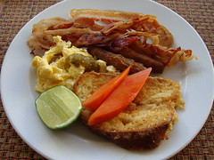 French Toast (knightbefore_99) Tags: food breakfast french mexico bacon toast papaya tasty mexican meal oaxaca sausages eggs lime desayuno huatulco tocino tangolunda