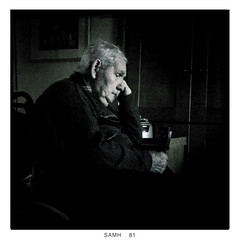 Na Laetha a Bh / Dreams of Other Days (soilse) Tags: ireland portrait reflection mobile reflections reflecting thought cellphone oldman thoughts squareformat thinking mobilephone grainy shadesofgrey deepinthought donegal iphone countydonegal whitehair elderlyman gaothdobhair eoghan blackand