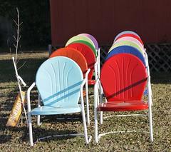 Locally-made Lawn Chairs, Jefferson, Texas (Country Squire) Tags: metal lumix texas panasonic artdeco jefferson lawnchairs dmcg1