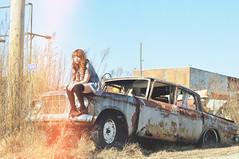 (yyellowbird) Tags: selfportrait 1955 girl car vintage studebaker junkyard cari ehhhh dsfhdsj dunnoaboutit
