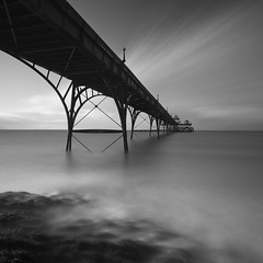 Clevedon Pier XIII (Adam Clutterbuck) Tags: ocean uk greatbritain sea england blackandwhite bw monochrome square mono coast pier blackwhite unitedkingdom britain somerset bn coastal elements gb bandw sq clevedon greengage adamclutterbuck sqbw bwsq showinrecentset