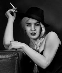 #2 (mdrozdovsky) Tags: portrait bw woman white black girl hat fashion canon dark russia moscow cigarette 5d bnw 3514l 5dmk2