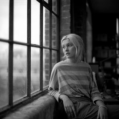 Sill (kenny ip) Tags: portrait london 120 6x6 film window mediumformat blackwhite sill rosie limehouse norita norita66 80mmf2 noritar kennyip