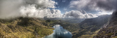 Snowdon Panorama1 (Peter B Clarke) Tags: sky panorama mountains clouds landscape lakes snowdon snowdonia hdr