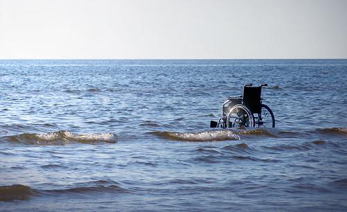 sea estonia waves wheelchair baltic