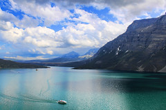 St Mary Lake (grimeshome) Tags: park summer vacation sky lake water st clouds boat day cloudy mary glacier national glaciernationalpark stmarylake emerald